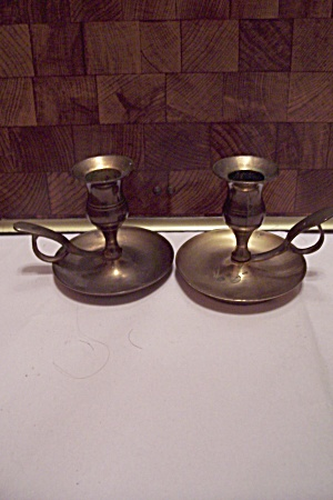 Pair Of Small Brass Candle Holders