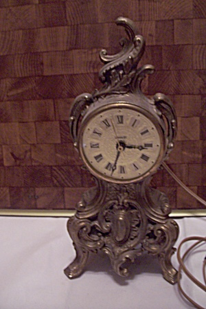 Louis Iv Brass Metal Mantel Electric Clock