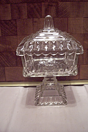 Crystal Pattern Glass Bride's Dish With Lid