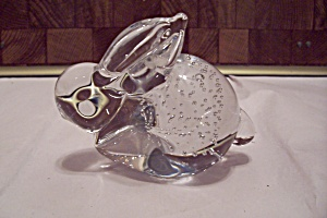 Crystal Glass Rabbit Paperweight W/ Controlled Bubbles