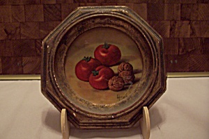 Hexagon Framed Still Life Tomato & Walnut Art Print