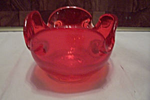 Cherry Red Cased Art Glass Folded Bowl/ash Tray