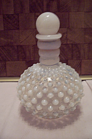 Moonstone Hobnail Glass Bottle With Stopper