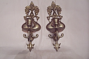 Pair Of Brass Bird Wall Mount Candle Holders