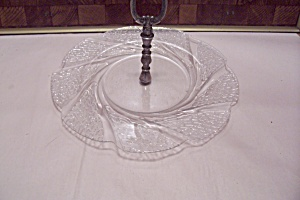 Crystal Pattern Glass Serving Tray With Handle