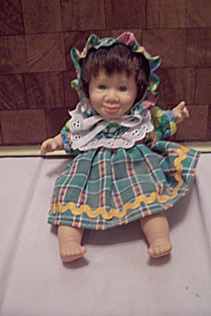 Little Baby Girl In Green Plaid Dress & Hat
