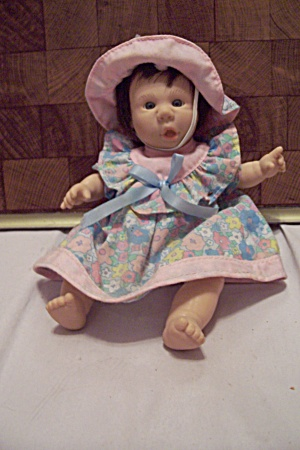 Little Baby Girl Doll In Blue & Pink Dress & Hat