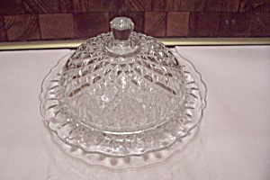 Crystal Pattern Glass Cheese Dish With Domed Lid