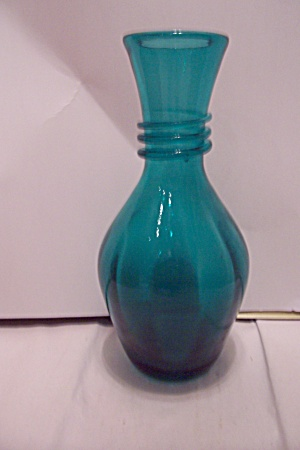 Bohemian Greenish-blue Art Glass Vase