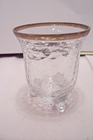 Crystal Crackle Glass 3-toed Toothpick Holder