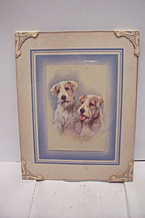 Antique Framed Art Print Of Pair Of Dog