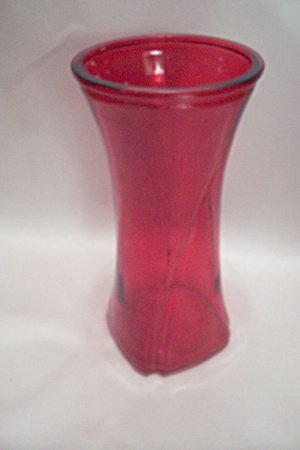 Tall Ruby Red Glass Vase