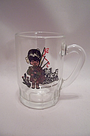 German Scottish Piper Decorated Small Glass Mug