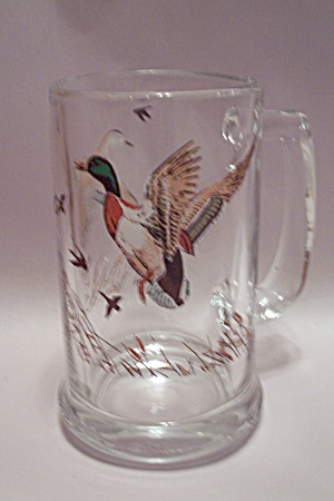 Mallard Duck Decorated Crystal Glass Beer Mug