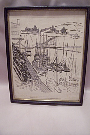 Depoe Bay, Oregon Framed Drawing Print By E. F. Sanzari
