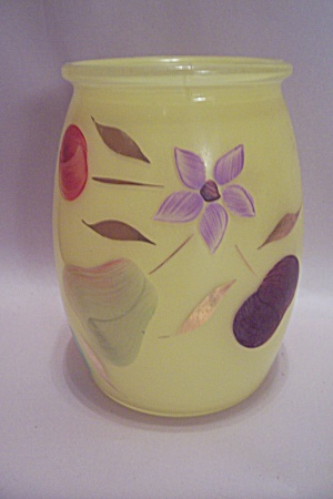 Hand Painted Yellow Bohemian Art Glass Vase