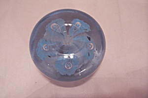 Blue Flower & Controlled Bubble Art Glass Paperweight