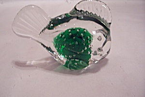 Cased Green Glass & Bubble Fish Paperweight