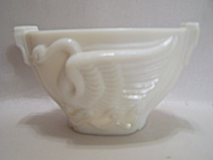 Art Deco Milk Glass Swan Bowl/cache Pot