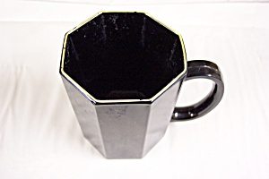 Octagon Shaped Black Glass Mug