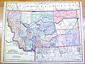 Antique Map Montana/utah 1902 Crowell