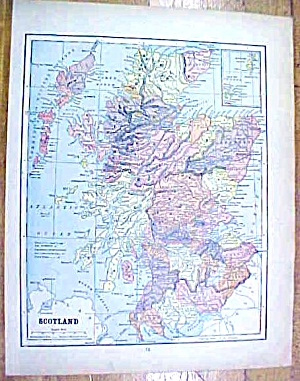 Antique Map Scotland/sweden/norway 1902 Crowell