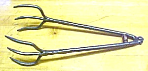 Beef Steak Tongs Hand Forged Iron 1800's