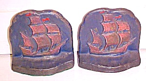 Antique Bookends Sailing Ship At Sea