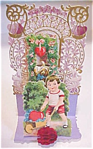 Fold Out Valentines Card Boy With Wagon Germany