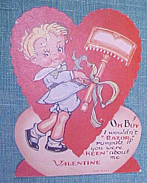 Antique Valentines Card Keen Razor Boy
