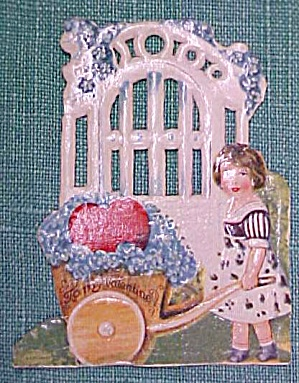 Antique Valentines Card Garden Scene Cut Out