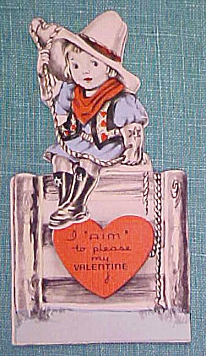 Antique Valentines Card Cowgirl