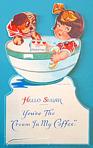 Coffee Girl Valentines Card 1930's Mechanical Sugar