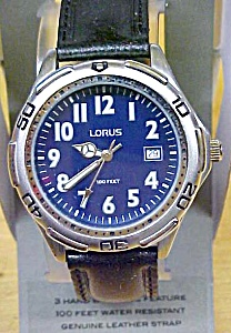 Lorus Watch Mens Leather Band Date 100 Ft.