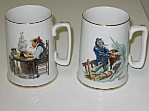 Norman Rockwell 2 1985 Collector's Mugs