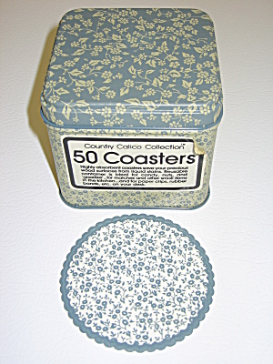 Country Calico Blue Chintz Paper Coasters & Metal Tin