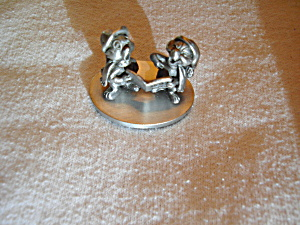 Walt Disney Pewter Chip And Dale Figurine