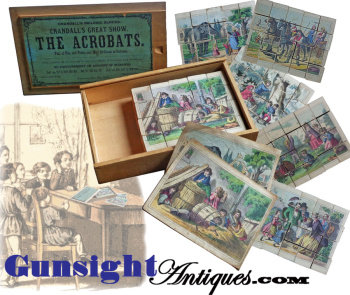 Attic Find Antique Wood Block Picture Puzzle In Crandall's Pat. 1867 Box.