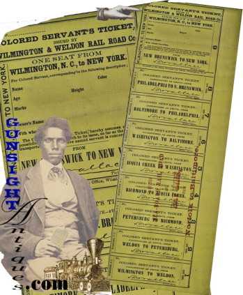 Antebellum Slave Servant's - Wilmington & Weldon Rail Road Ticket