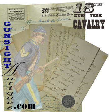 5 Civil War Cavalry Letters: Exchanged Between Co. D 1st U. S. Dragoons Then 18th Ny Cav. Friends.
