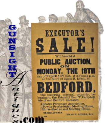 Original 1884 Bedford, N. H. - Auction Broadside