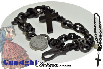 Civil War Era Lady's Hard Rubber Chain & Pendant