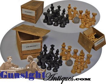 Extra Nice Civil War Era Turned Birch Chess Set In Medical Box