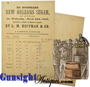 1858 L. M. Hoffman & Co. - Auction Bid Card - 232 Hogsheads - Prime New Orleans Sugar