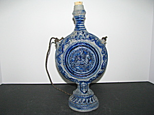 Vintage Blue Coin Shaped Decanter