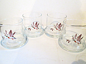 Vintage Mallard Duck Low Ball Drinking Glasses