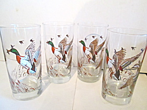 Vintage Mallard Duck Tall Drinking Glasses
