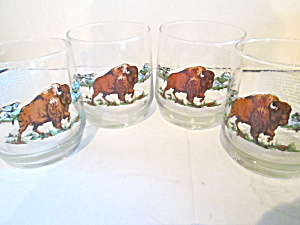 Vintage American Bison Rock Drinking Glasses