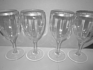 Vintage Gold Rimmed Vertical Ribbed Stemed Glasses