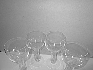 Vintage Bulbous Hollow Stem Wine/cordial Glasses